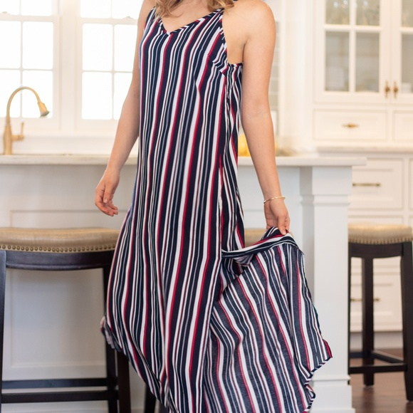 Dresses & Skirts - Red White and Blue Striped Maxi Dress